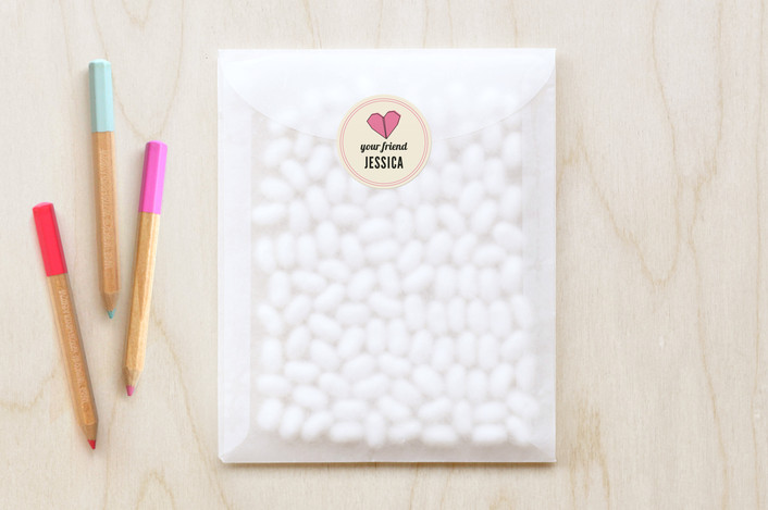 """Heartfold Greetings"" - Vintage Custom Stickers in Fuschia by Paper Rose."
