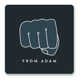 This is a blue custom sticker by Amy Payne called Fist Bump with standard printing on uncoated sticker paper in sticker.