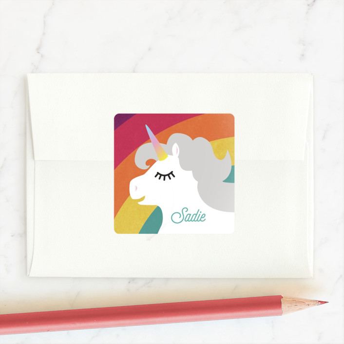 """Rainbows! Unicorns! Glitter!"" - Custom Stickers in Fruit Punch by Holly Whitcomb."