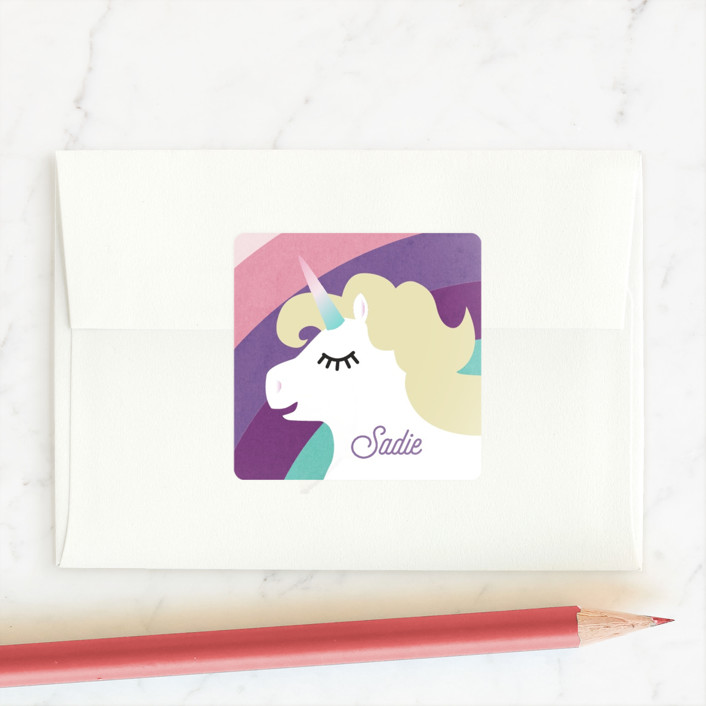 """""""Rainbows! Unicorns! Glitter!"""" - Custom Stickers in Fruit Punch by Holly Whitcomb."""