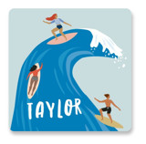 This is a blue custom sticker by Karidy Walker called surf swell with standard printing on uncoated sticker paper in sticker.