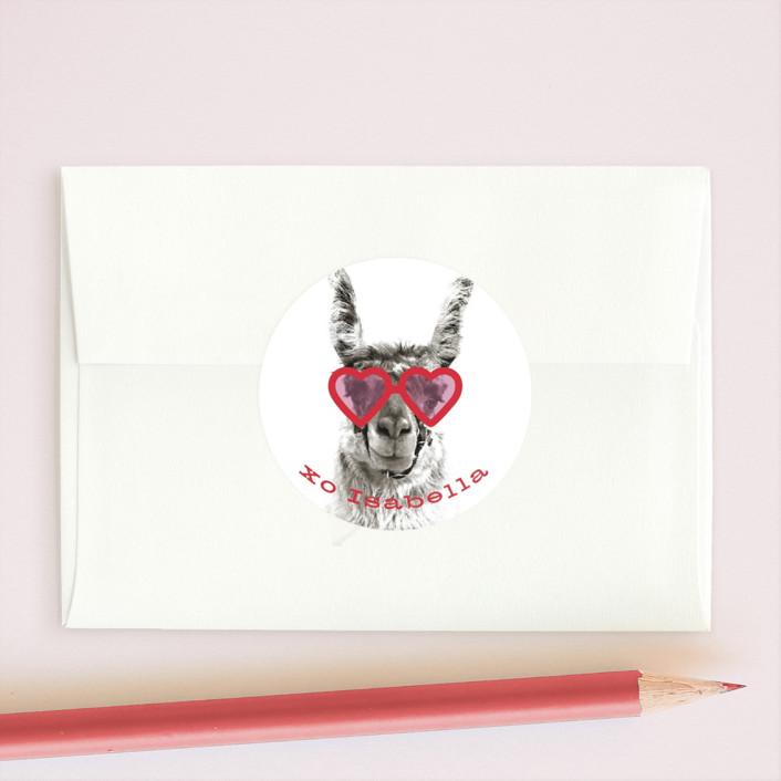 """llama llove"" - Custom Stickers in Cherry by Baumbirdy."