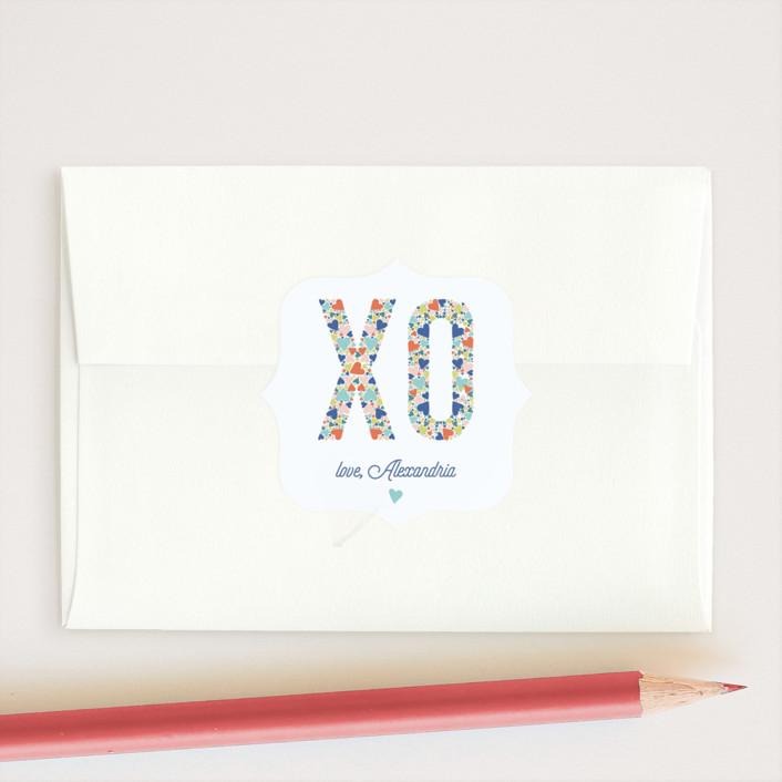 """XOXO Hearts"" - Custom Stickers in Cerulean by Ashley DeMeyere."