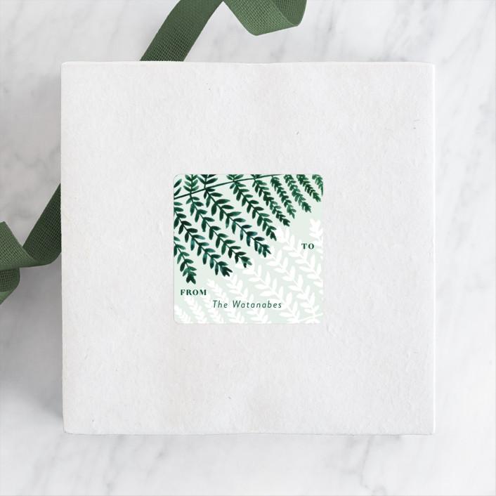 """""""Elegant Fern"""" - Rustic Custom Stickers in Fern by Yaling Hou Suzuki."""