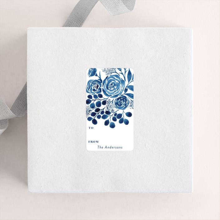 """Blue Floral Boquest"" - Custom Stickers in Cobalt by Yaling Hou Suzuki."