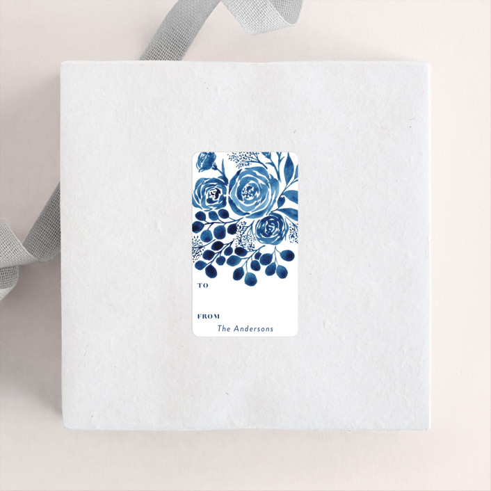 """Blue Floral Boquest"" - Custom Stickers in Cobalt by Yaling Hou Suzuki."