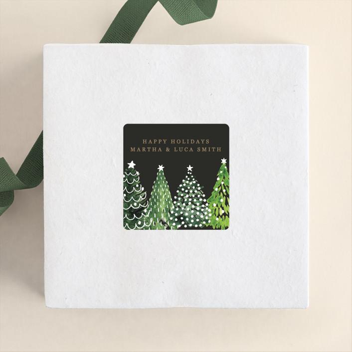 """Decorated Christmas trees"" - Rustic Custom Stickers in Snow by Rosana Laiz Blursbyai."