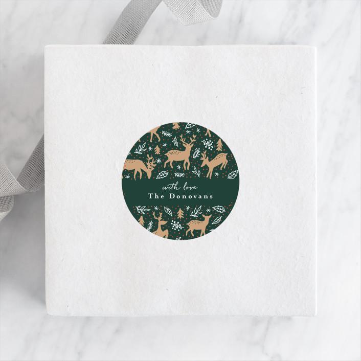 """""""Happy Reindeers"""" - Whimsical & Funny Custom Stickers in Snow by Susanne Kasielke."""