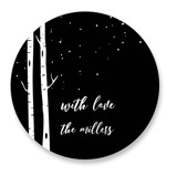 This is a black custom sticker by Heather Schertzer called Snowy Night with standard printing on uncoated sticker paper in sticker.