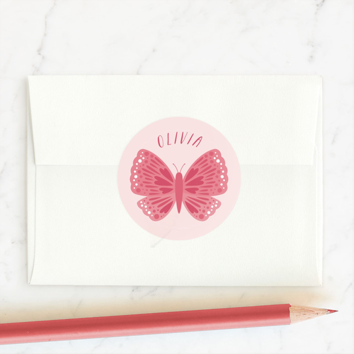 """Scalloped Butterfly"" - Custom Stickers in Rosy by Kacey Kendrick Wagner."