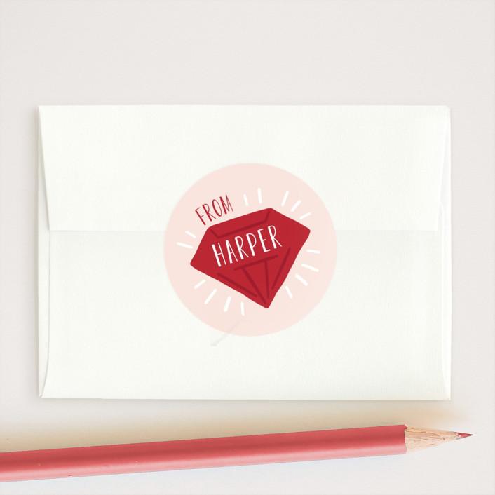 """Gem"" - Custom Stickers in Peony by JeAnna Casper."
