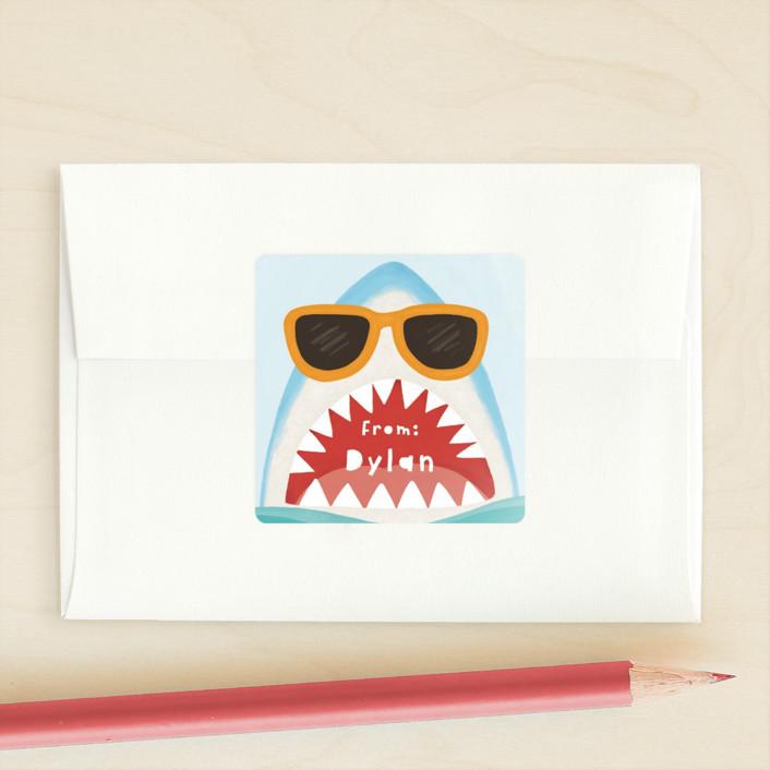 """Totally Jaw-some Shark"" - Custom Stickers in Gumdrops by Yaling Hou Suzuki."