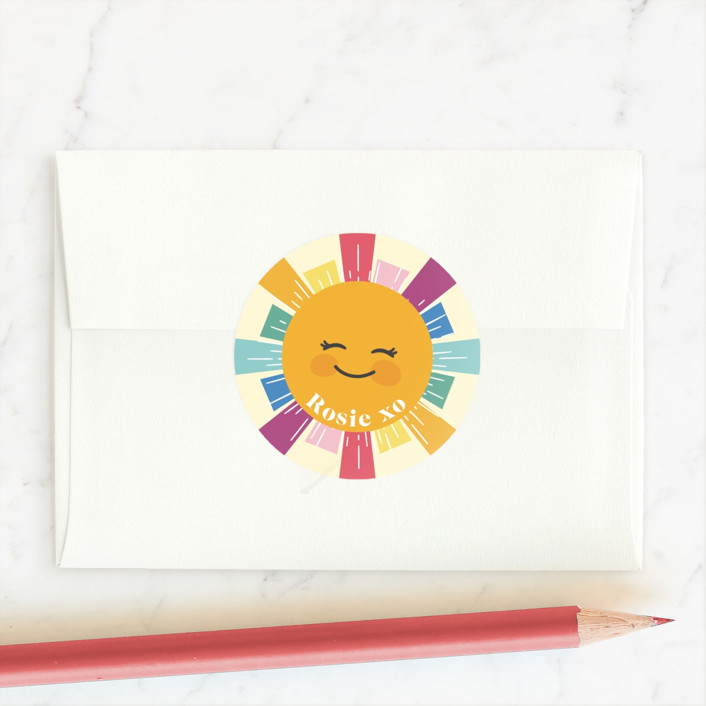 """Sunshine"" - Custom Stickers in Rainbow by Hudson Meet Rose."