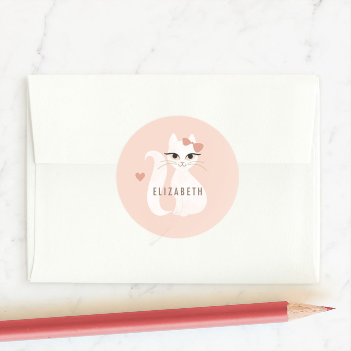 """Purrrfect Valentine"" - Custom Stickers in Blush by Kristen Smith."