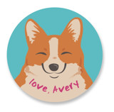 This is a blue custom sticker by Sovelle called A Pawsome Valentine with standard printing on uncoated sticker paper in sticker.