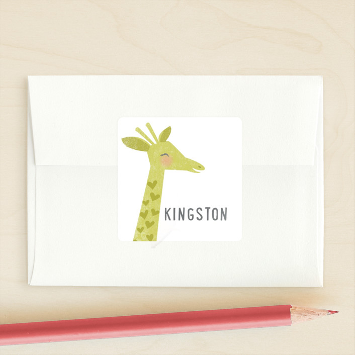 """Smiling Giraffes"" - Custom Stickers in Chartreuse by Karidy Walker."