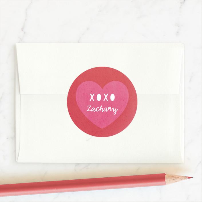 """Valentine Crossword"" - Custom Stickers in Red Rose by Hooray Creative."