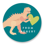 This is a blue custom sticker by Alethea and Ruth called You are Dino-mite! with standard printing on uncoated sticker paper in sticker.