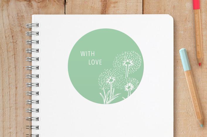 """Dandelion Field"" - Custom Stickers in Aqua by Gina Vicencio."