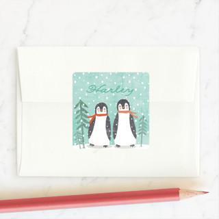 little penguins snowglobe Custom Stickers