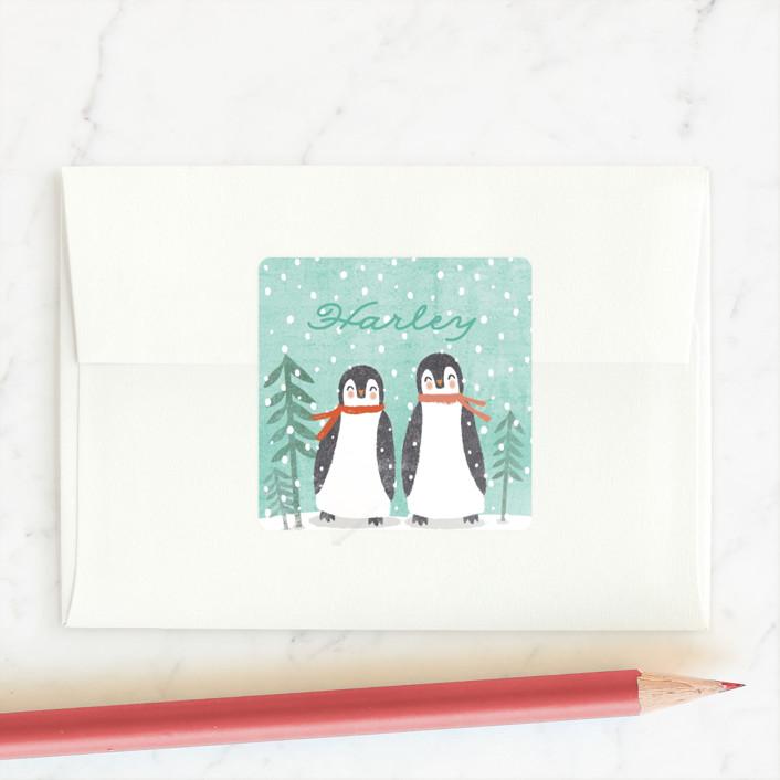 """""""little penguins snowglobe"""" - Custom Stickers in Seafoam by Karidy Walker."""