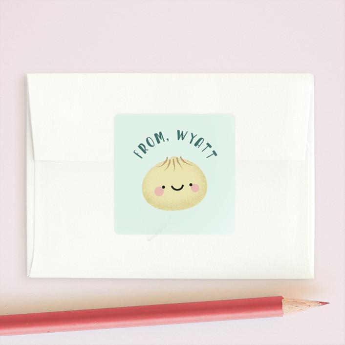 """""""Little Dumpling"""" - Custom Stickers in Frozen by Anne Holmquist."""
