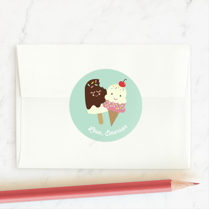 """Sweetest Friend"" - Custom Stickers in Mint by Shirley Lin Schneider."