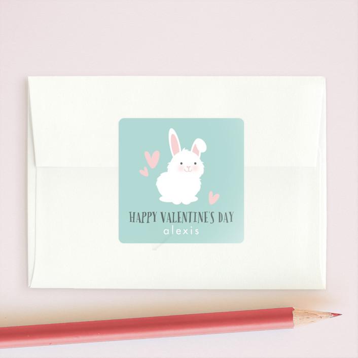 """No-Bunny Else"" - Custom Stickers in Teal by Angela Garrick."