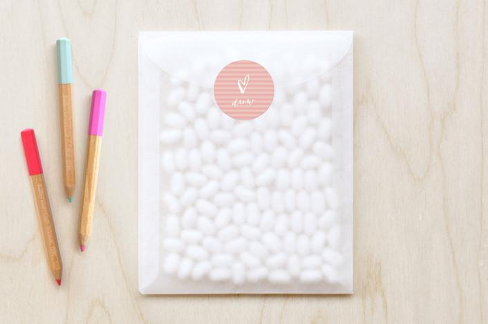 """Outline Heart"" - Simple Custom Stickers in Bubblegum by Anna Elder."