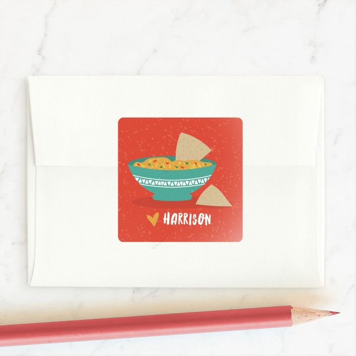"""Just in Queso"" - Custom Stickers in Apricot by One Swell Studio."