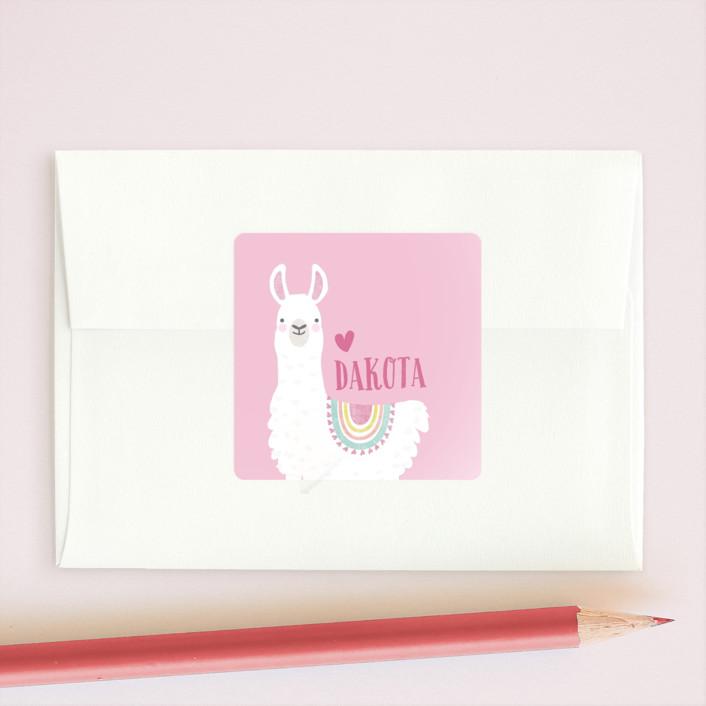 """""""Llama Fun"""" - Custom Stickers in Candy by Karidy Walker."""