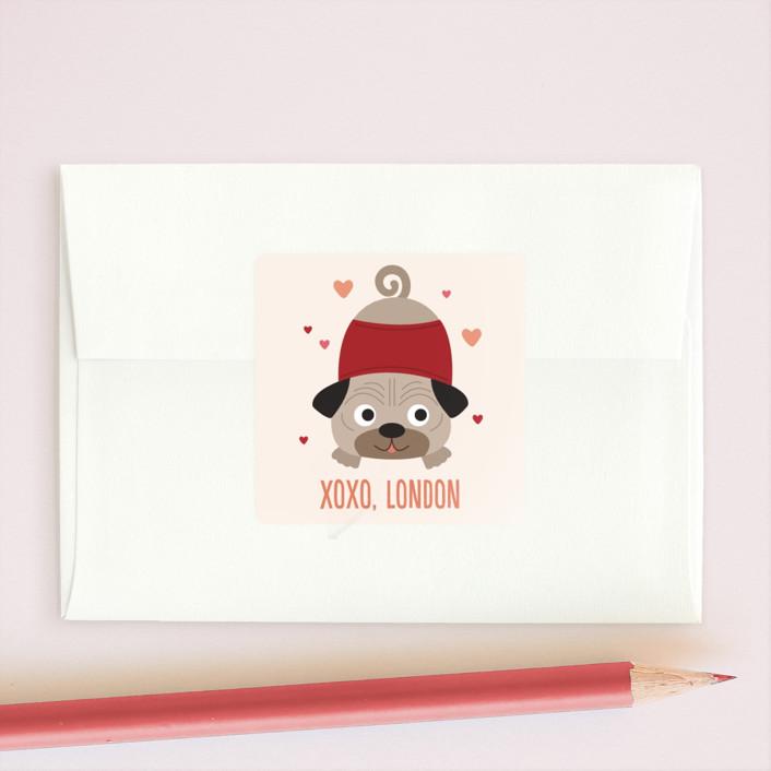 """""""Pugs & Kisses"""" - Custom Stickers in Sand by Erica Krystek."""