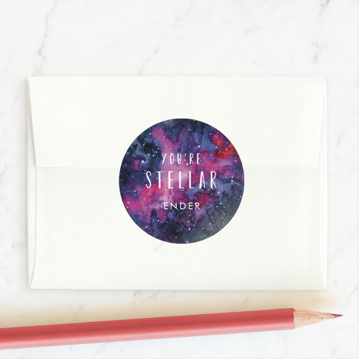 """""""stellar valentine"""" - Custom Stickers in Magenta by Angela Garrick."""