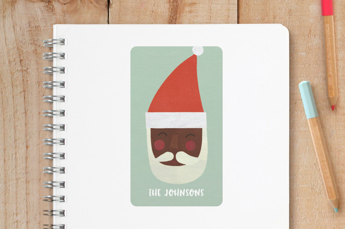 """""""Multi-Cultural Santas"""" - Whimsical & Funny Custom Stickers in Pistachio by melanie mikecz."""
