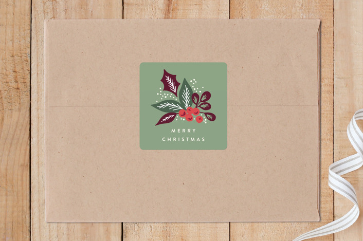 """""""Pine Branch Berries"""" - Custom Stickers in Merlot by Alethea and Ruth."""