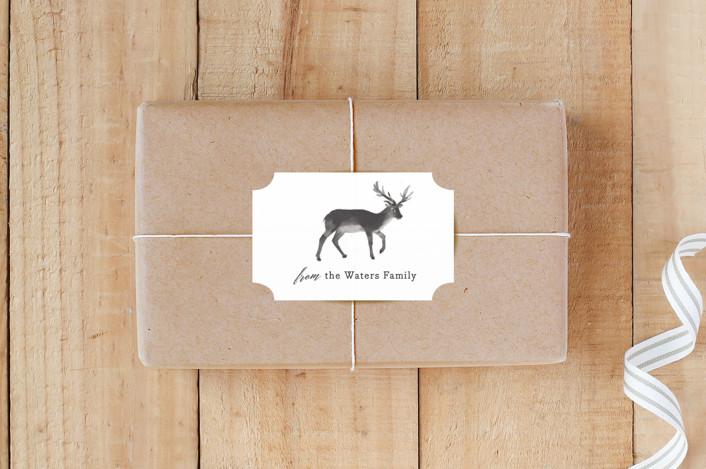 """Reindeer Feet"" - Rustic, Whimsical & Funny Custom Stickers in Charcoal by Rebecca Daublin."