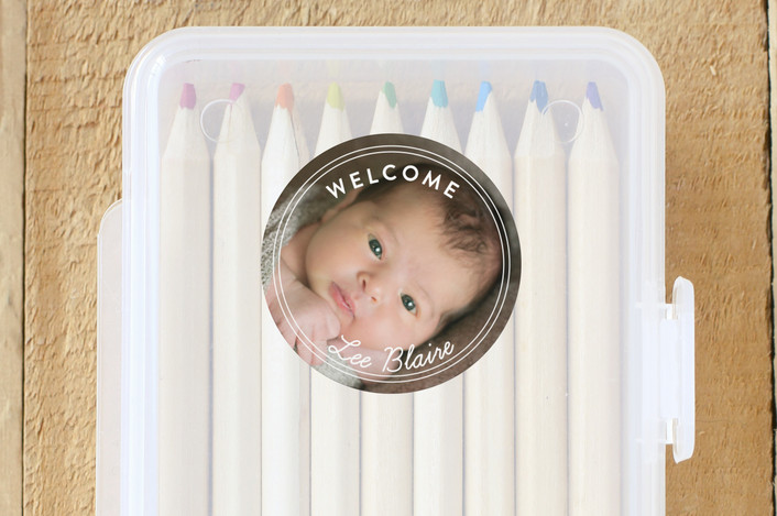 """Welcome Baby"" - Custom Stickers in Powder by Shirley Lin Schneider."