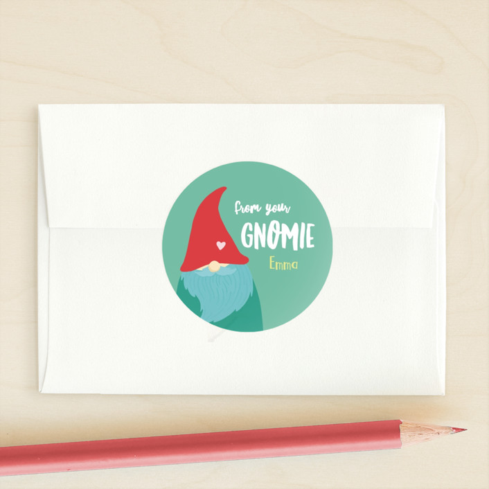 """Gnomie Love"" - Custom Stickers in Moss by Tennie and Co.."