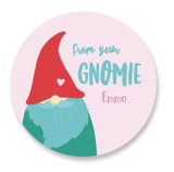This is a pink custom sticker by Tennie and Co. called Gnomie Love with standard printing on uncoated sticker paper in sticker.