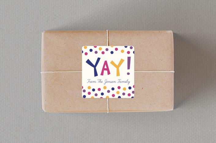 """Yay!"" - Modern Custom Stickers in Jewel by Kacey Kendrick Wagner."