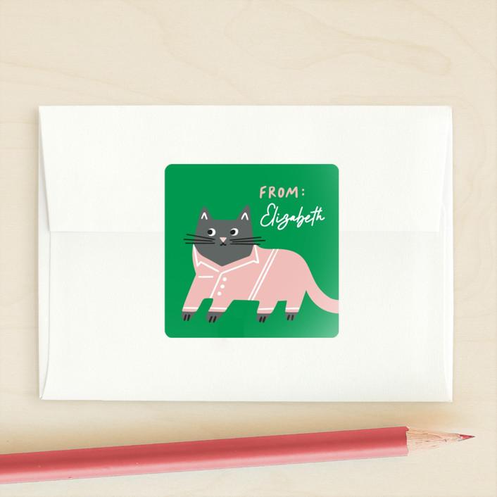 """Cat's Pajamas"" - Custom Stickers in Emerald by Genna Blackburn."