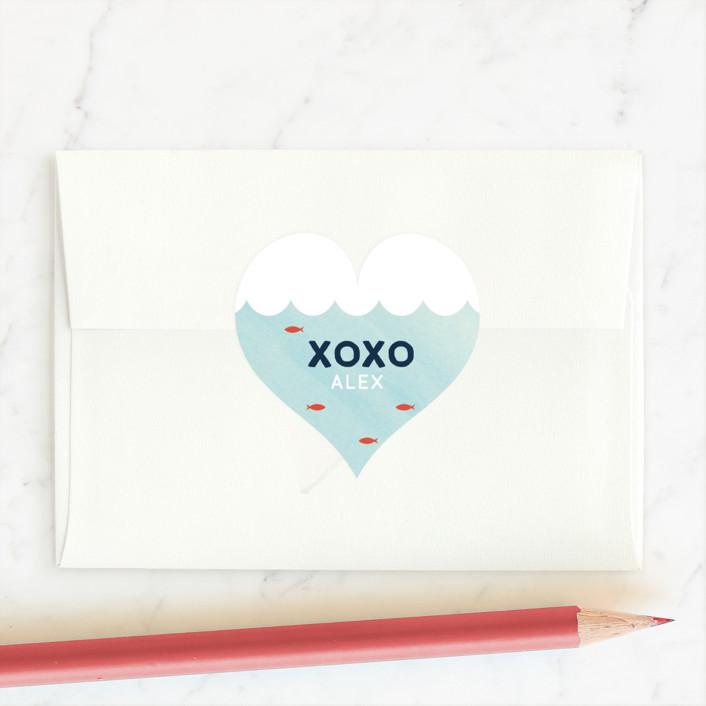 """School Valentine"" - Custom Stickers in Sunset by Baumbirdy."