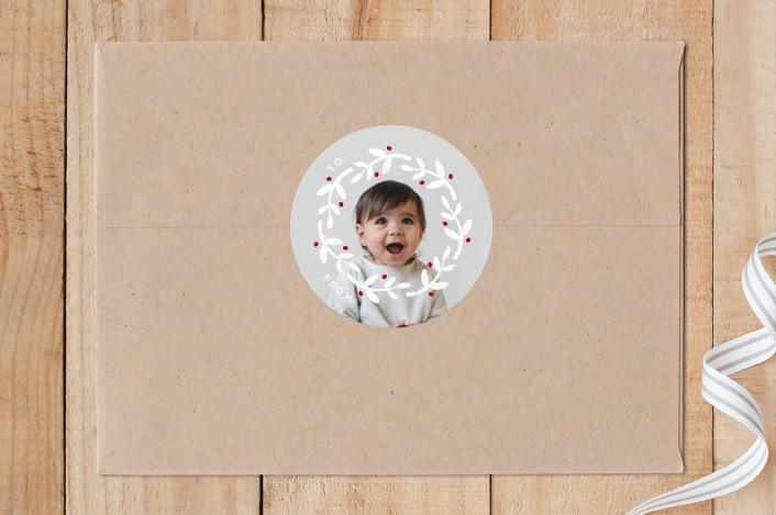 """A Baby Holiday"" - Custom Stickers in Snow by Christina Novak."