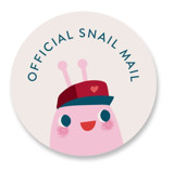 This is a red custom sticker by Lori Wemple called Snail Mail with standard printing on uncoated sticker paper in sticker.