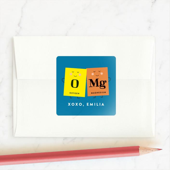 """""""OMG"""" - Custom Stickers in Cobalt Blue by Erica Krystek."""