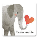 This is a red custom sticker by Karidy Walker called Elephant with standard printing on uncoated sticker paper in sticker.
