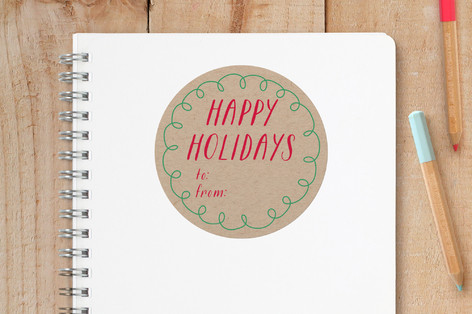 Hand Drawn Holiday Custom Stickers