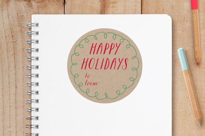 """Hand Drawn Holiday"" - Custom Stickers in Kraft by Erin Niehenke."