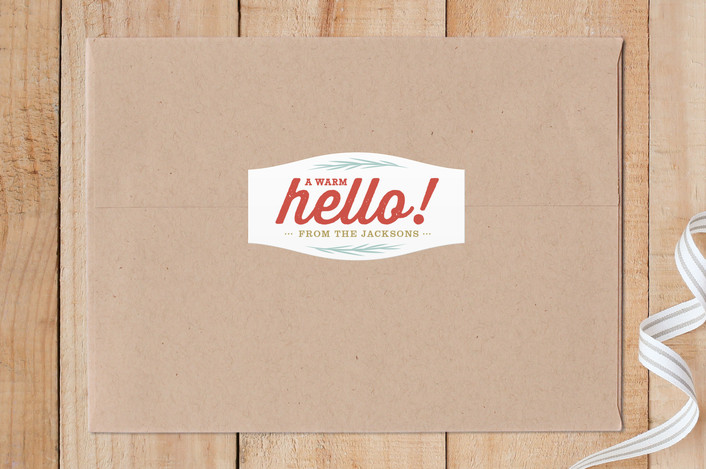 """""""Hand-crafted Hello"""" - Custom Stickers in Poppy by sue prue."""