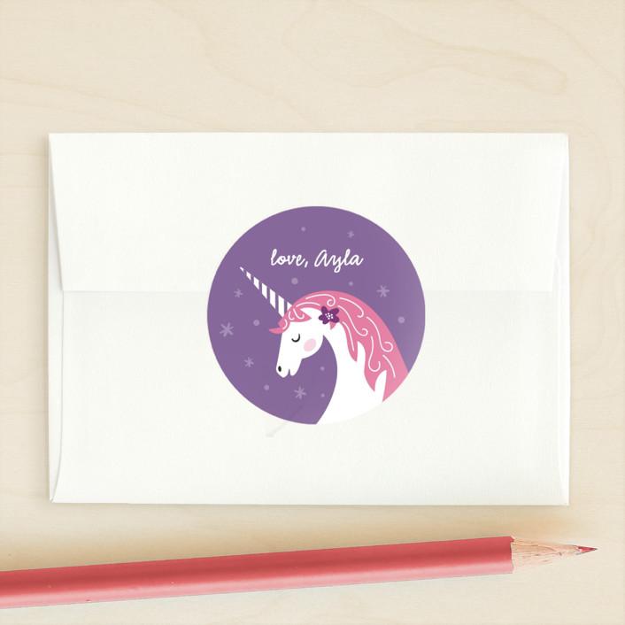 """Magical Valentine"" - Custom Stickers in Lavender by Jana Volfova."